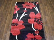 Modern Rugs Approx 5x2ft6 80cmx150cm Woven Thick best around Black/Red Poppys